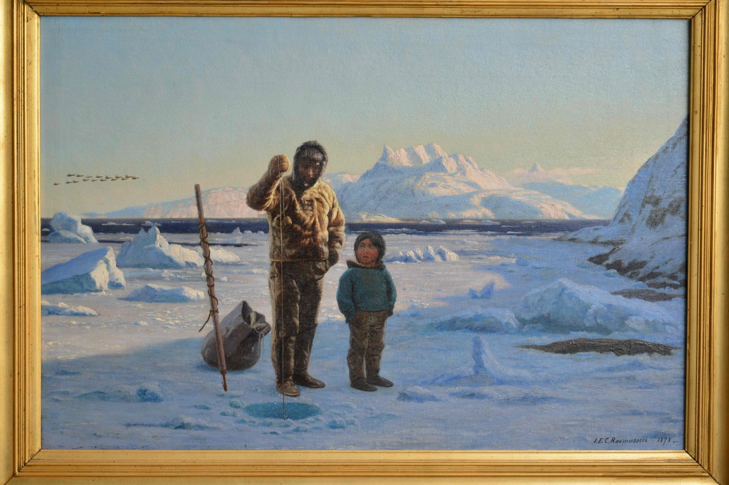 Jens Erik Carl Rasmussen, l'apprentissage de la pêche, peinture du Groenland, eskimos, Greenland paintings, Inuit culture, danish painter, arctic paintings, arctic culture, eskimaux, icebergs, pack-ice, banquise