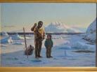 Jens Erik Carl Rasmussen, l'apprentissage de la pêche, peinture du Groenland, eskimos, Greenland paintings, Inuit culture, danish painter, arctic paintings, arctic culture, eskimaux, icebergs, pack-ice, banquise