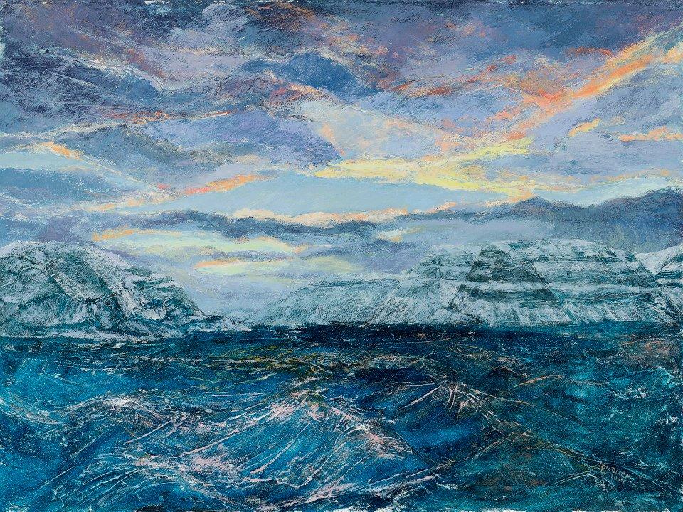 Billefjord - svalbard - arctic lanscape - arctic painting - Louise Pilditch - arctic sea