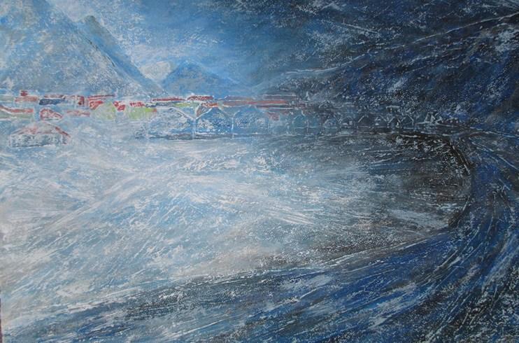 Longyearbyen - arctic colours - arctic hut - arctic - svalbard - norway - spizbergen - spiztberg - painting - Louise pilditch