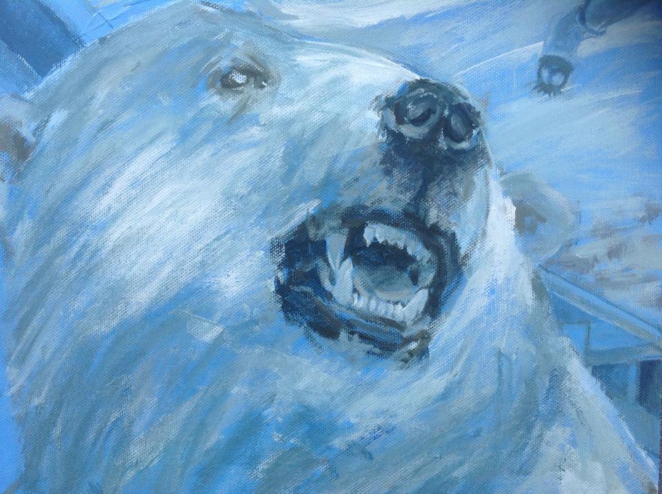 polar bear, arctic artist, ice bear, peinture ours, ours blanc, predator, king of the arctic, svalbard, louise pilditch