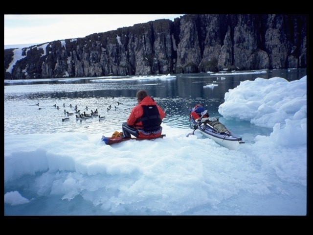 photo: Abild / Havig-Gjelseth, Lysbilde, kayak in the arctic, kayak svalbard, sea kayaking, arctic ocean, spitzbergen kayaking, arctic glacier, kayak expedition, svalbard expedition, spitsbergen kayaking, arctic expedition, sysselmannen, longyearbyen, interview