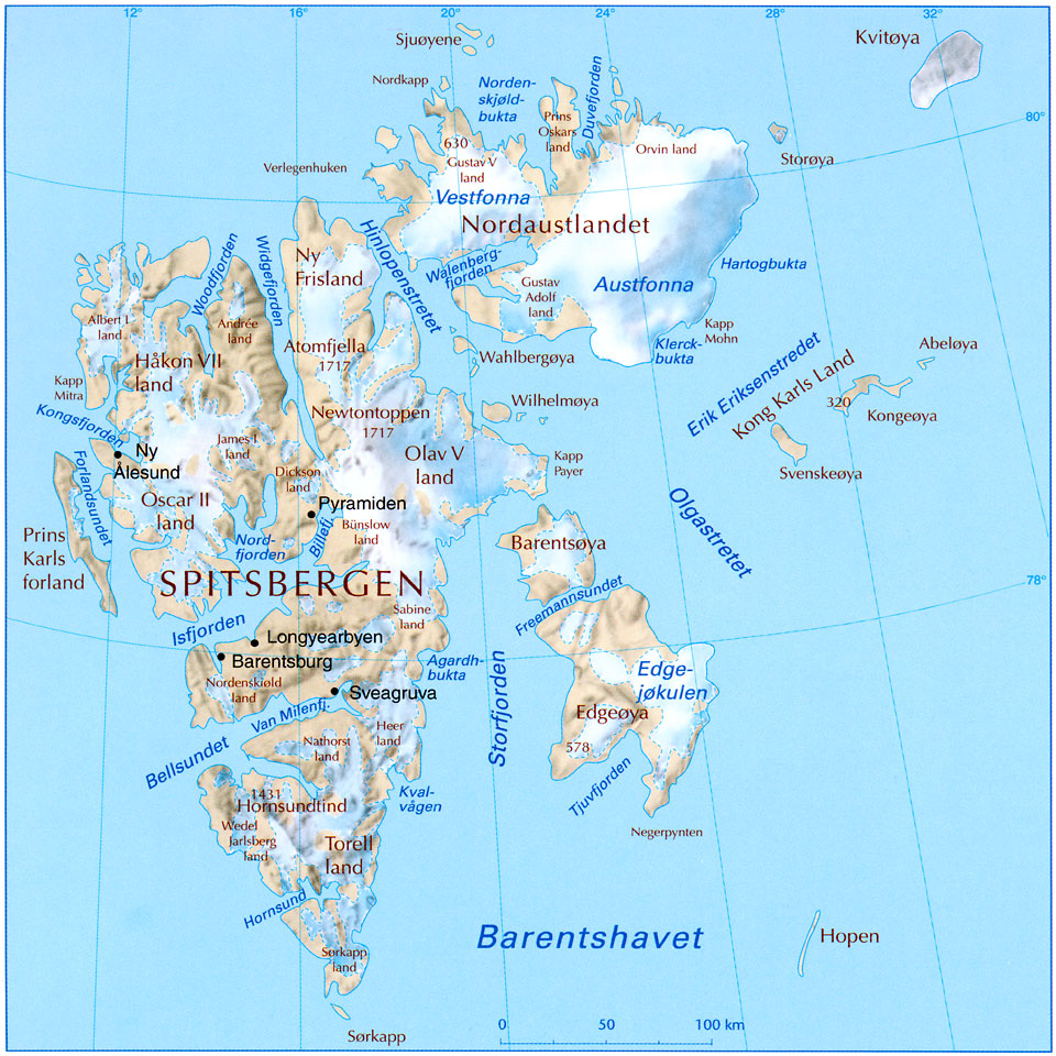 svalbard map, nordaustlandet, longyeabyen, north pole map, arctic ocean, spitsbergen, carte géographique du spizberg, carte du svalbard, hinlopen,