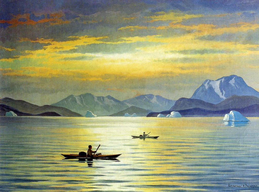 Emmanuel A. Petersen, kayaking, greenland paintings, peintre danois, peinture du groenland, danish painters, arctic paintings, soleil de minuit au groenland, kayak