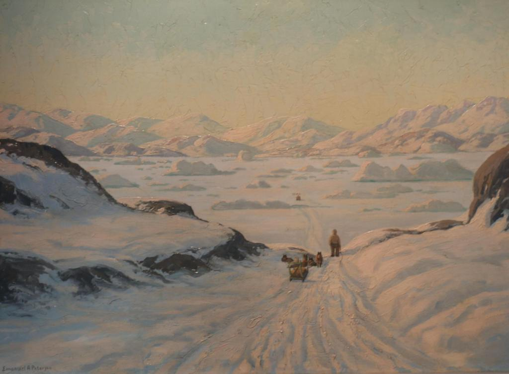 Emmanuel A. Petersen, peintre danois, peinture du groenland, danish painters, arctic paintings, dog sled, chiens de traineaux, eskimo dog sledding, icebergs, greenland paintings