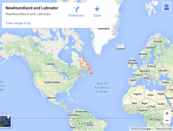 Google map, google map Newfounland & Labrador, Terre Neuve et Labrador, google map Groenland, iceberg Terre Neuve, drifting iceberg