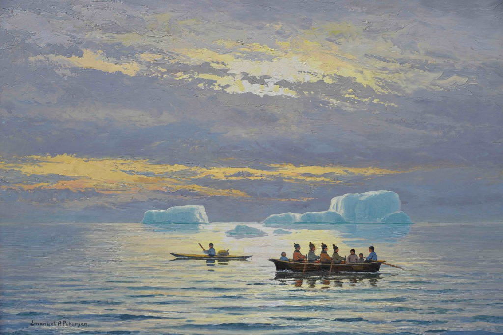 arctic05, brafa, Emmanuel-A.-Petersen-greenland-paintings-peintre-danois-peinture-du-groenland-danish-painters-arctic-paintings-eskimo-fishing-pêche-inuit