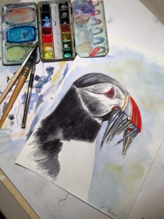Laurence Plantier, peintures, Artiste française, arctic05, macareux moine, puffin painting, decorations-murales-aquarelle, atlantique nord, oiseaux, ornithologie, islande, créations de Pimprenelle