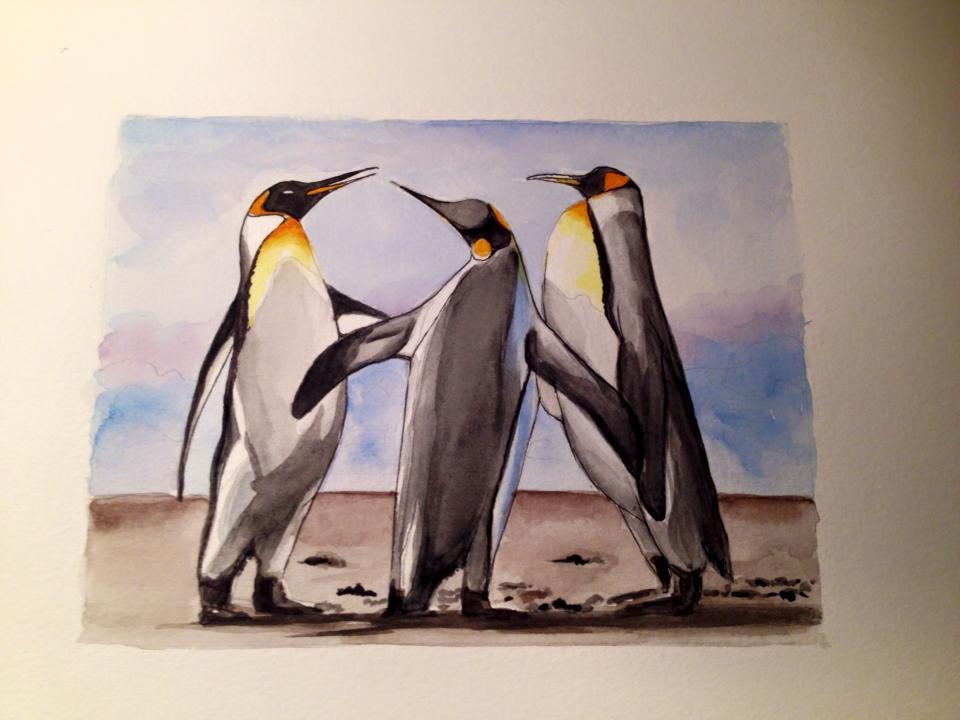 manchots, penguins, Laurence Plantier, créations de Pimprenelle, arctic05, peintre français, Art et peintures, aquarelles, décorations,anniversaire, Nature, Antarctique, polar wildlife
