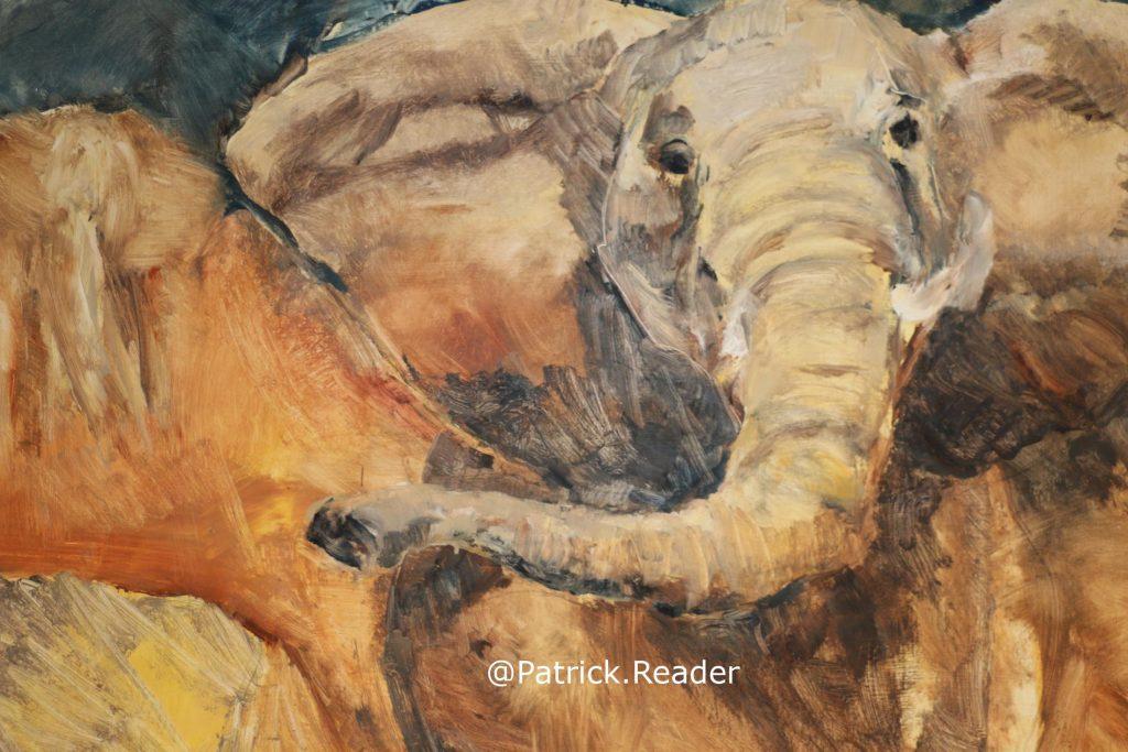 Elephant, Painting of elephant, Zeeland, Middelburg, 't Gasthuis Middelburg, Africa, Kunst en Cultuur in Middelburg, Arctic05, schilderij van olifant