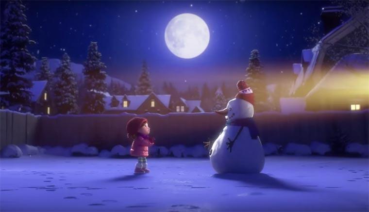 Lily and Snowman, enfants, imagination, animation, fêtes de Noël, Célèbrer l'An Nouveau, neige, Noël, Arctic05, amour, partage, simplicité, amis
