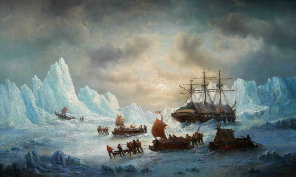 In Search of Sir John Franklin, circa 1850 François-Etienne Musin, Belgian school, 19th century Oil on canvas, Philippe Heim, Arctic05, Brafa 2017
