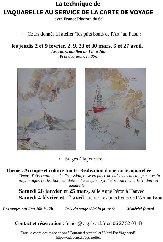 La technique de l'aquarelle au service de la carte de voyage, avec France Pinczon du Sel,peinture, arctique et culture inuit, arctic05, voilier polaire vagabond, stages de peinture en france, banquise