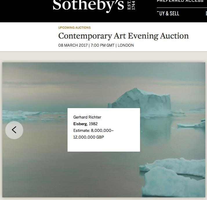Sotheby's, 2017 auction, Gerhard Richter, Eisberg, 1982. From Contemporary Art Evening Auction, arctic05, iceberg, vente publique, peinture chez Sotheby's London, prix d'une peinture, peintre allemand