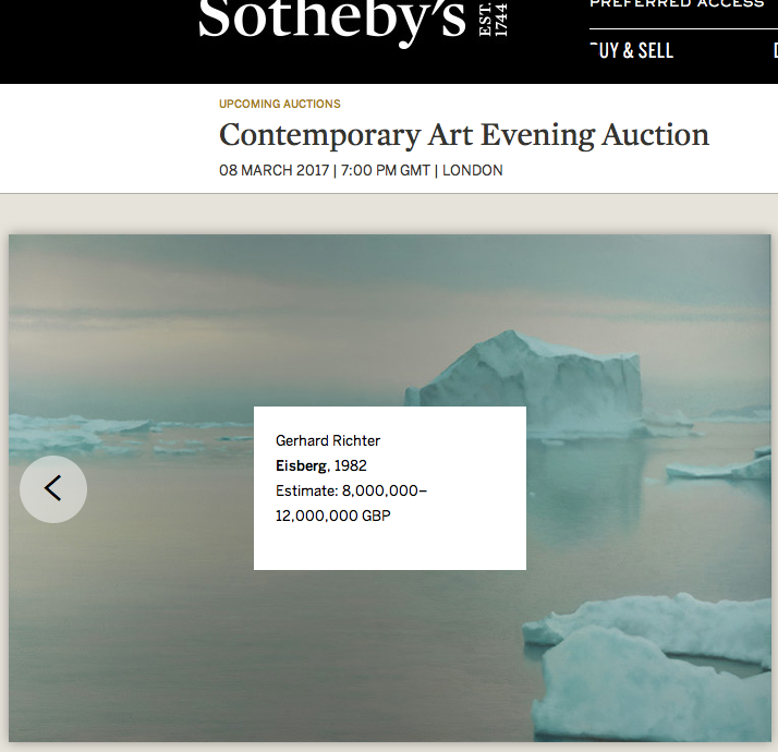 Sotheby's, painting, Gerhard Richter, Eisberg, 1982. From Contemporary Art Evening Auction, 2017 auction, arctic05, iceberg, vente publique, peinture chez Sotheby's London