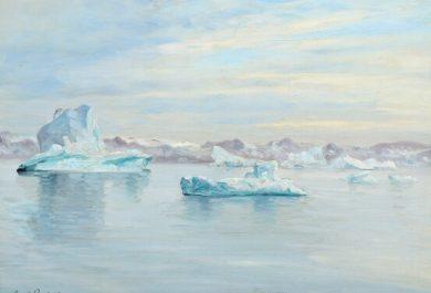 Carl Locher- Landscape from Disko Bay, peinture du Groenland, la baie de Disko, Art, Arctic05, vente publique, Bruun Rasmussen, iceberg, paysage polaire, couleurs boréales, eaux glacées