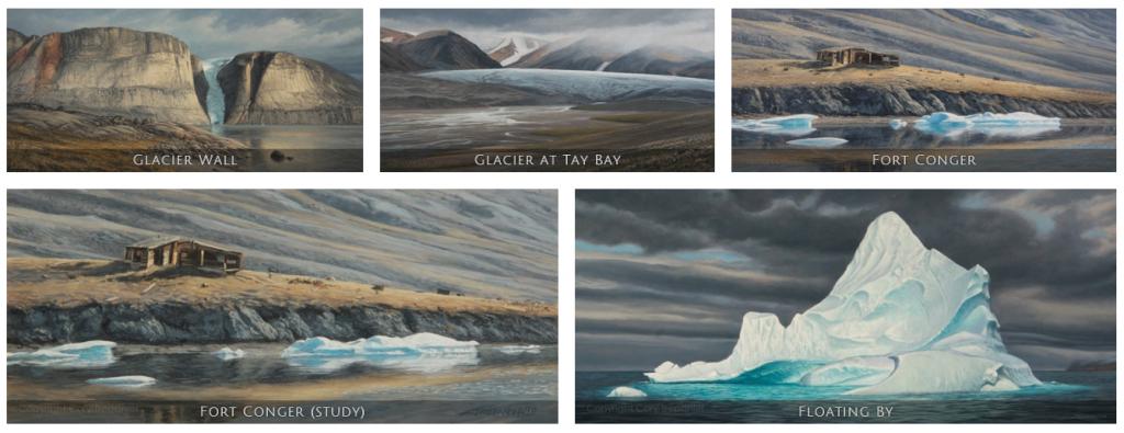 Cory Trépanier, exposition DANS L'ARCTIQUE, peintures, paintings, Arctic05, Canada, Passage du Nord-Ouest, Nunavut, Artiste canadien, photos polaires, iceberg, glacier, tundra, paysages du Grand Nord