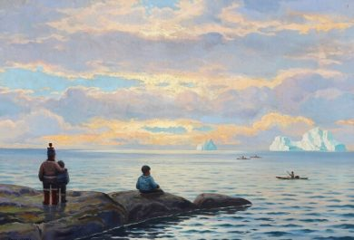 Emanuel Petersen, auction, Danish painter, Greenland, sunset at Disko Bay, Arctic05, oil on canvas, solnedgang diskobugten, iceberg, eskimo, inuit, bruun rasmussen