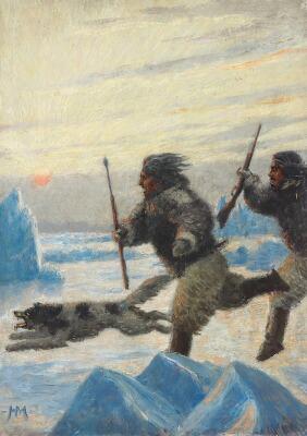 Peinture du Greonland, Harald Moltke, Landscape from Greenland with sealers and sledge dog, bruun rasmussen, arctic05, peintre, Artiste, vente publique, eskimaux, chiens de traineaux, pêcheurs de phoques