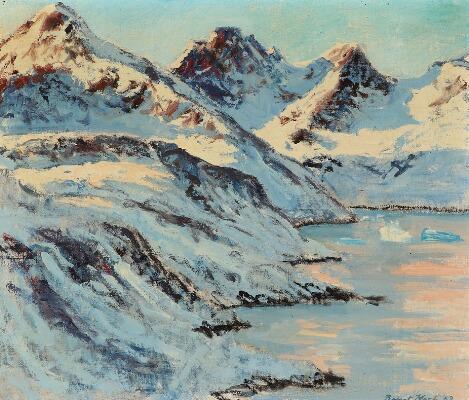 Vente publique peinture, Bengt Koch- A scenery from Greenland, Bruun Rasmussen, Arctic05, paysage du Greonland, montagnes et glaciers