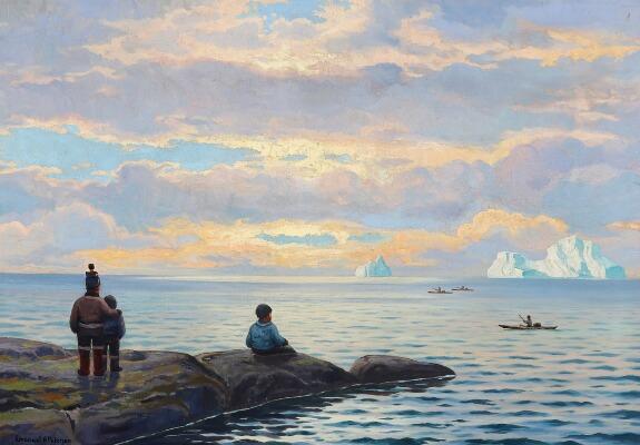 vente publique, peinture, Emanuel A. Petersen, Arctic05, la baie de Disko, sunset at Disko Bay, oil on canvas, solnedgang diskobugten, iceberg, eskimaux, inuit, bruun rasmussen
