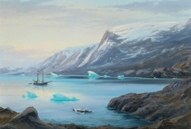 Auction, Evelyn Bøje Thorbjørn- Scenery from Greenland. Signed E. Thorbjørn, Grønland. Oil on canvas, Bruun Rasmussen, Arctic05, painting, peinture