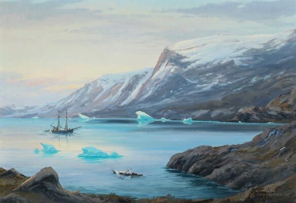 Auction, Evelyn Bøje Thorbjørn- Scenery from Greenland. Signed E. Thorbjørn, Grønland. Oil on canvas, Bruun Rasmussen, Arctic05, painting, peinture