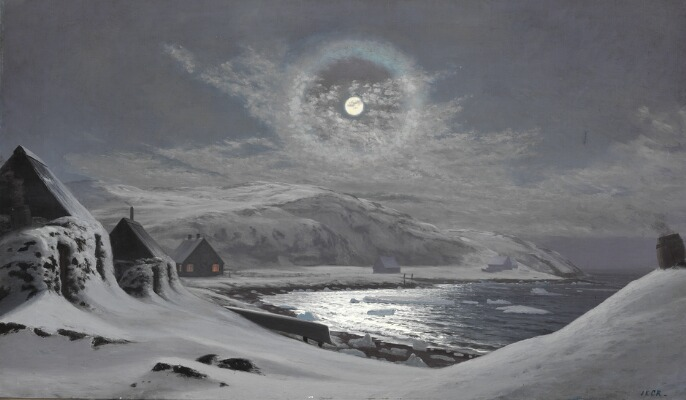 I. E. C. Rasmussen- Full moon over a Greenlandic settlement. Signed I. E. C. R. Oil on canvas. Arctic05, paintings auction, bruun rasmussen, peinture