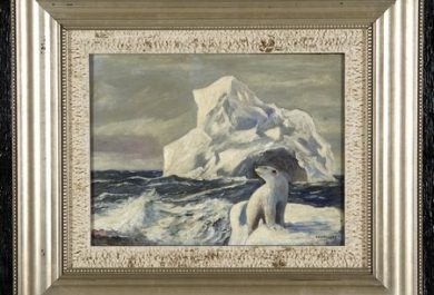 Polar bear on ice, painting, auction, Danish painter, JEC Rasmussen, Gatsby's Auction Gallery in Atlanta, Arctic05, white bear, icebergs, 19 century