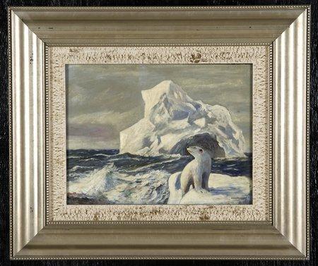 Polar bear on ice, painting, auction, Danish painter, JEC Rasmussen, Gatsby's Auction Gallery in Atlanta, Arctic05, white bear, icebergs, 19 century