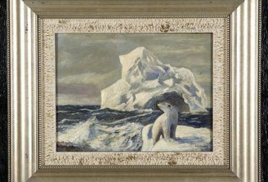 peinture ours polaire, iceberg, JEC Rasmussen, Gatsby's Auction Gallery in Atlanta, Arctic05, Artiste, Groenland, ours blanc en image, peintre danois, vente publique, USA, 19ème siècle, ours en arctique