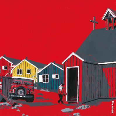 Kulusuk, rouge banquise, maison, groenland, Nathalie Kopp, inuit, carte postale, Artiste, Arctic05, village inuit, dessin polaire, le milieu polaire