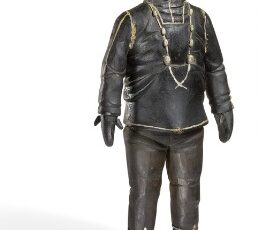 auction, Johannes Kreutzmann- A carved and painted wood figure of an Inuit man, bruun rasmussen, inuit, Arctic, Greenland