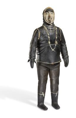 auction, Johannes Kreutzmann- A carved and painted wood figure of an Inuit man, bruun rasmussen, inuit, Arctic, Greenland