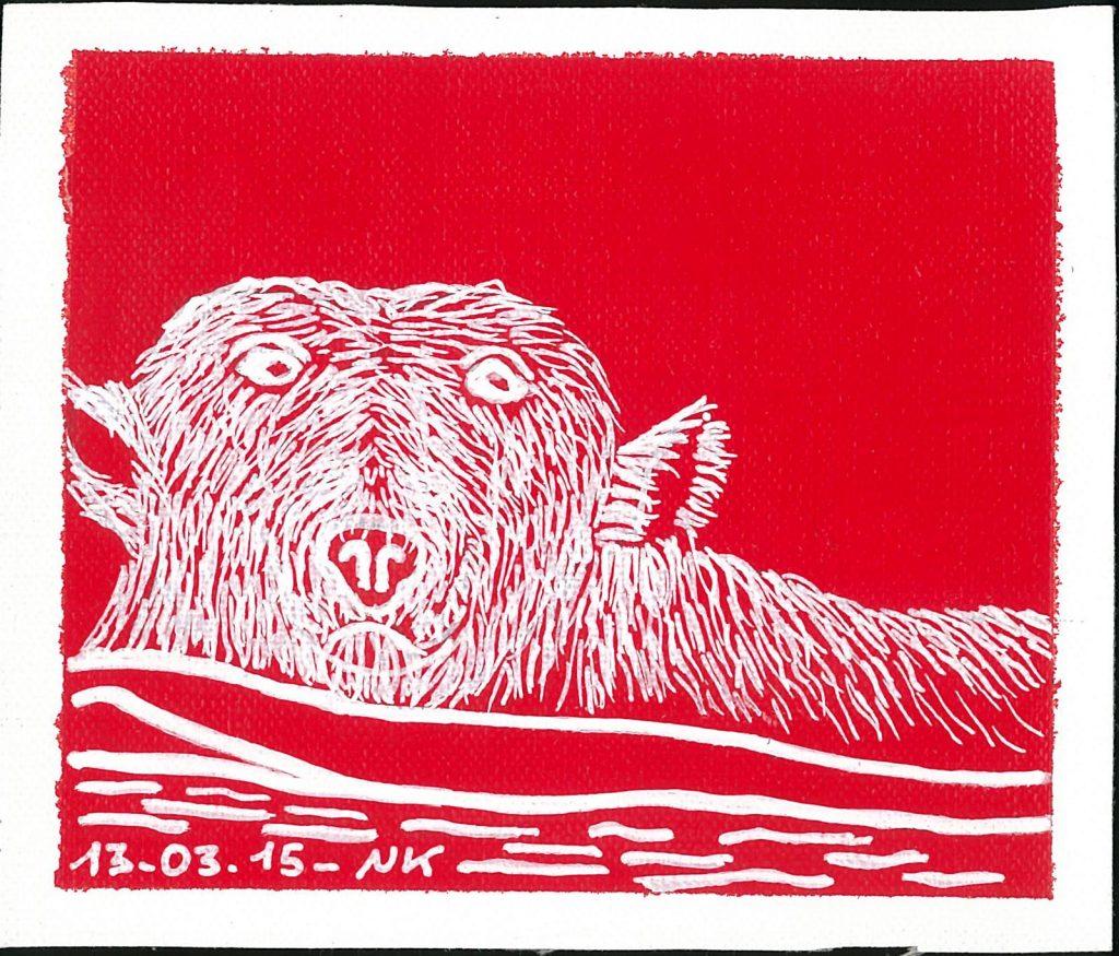 ours polaire, rouge banquise, Nathalie Kopp, ursus maritimus, prédateur, roi de l'arctique, Arctic05, Art Inuit, dessin polaire, Acrylique, Artiste polaire