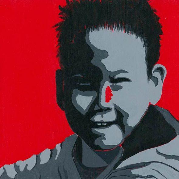 rougebanquise-peinture-groenland-nathaliekopp-garçon de kulusuk, arctic05, dessin acrylique, art polaire, inuit, peinture, eskimaux, greenland