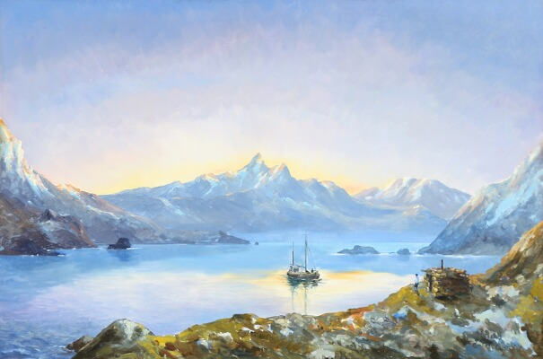 arctic painting ,Evelyn Bøje Thorbjørn- Sunset scene from Greenland with people waiting for a ship to arrive