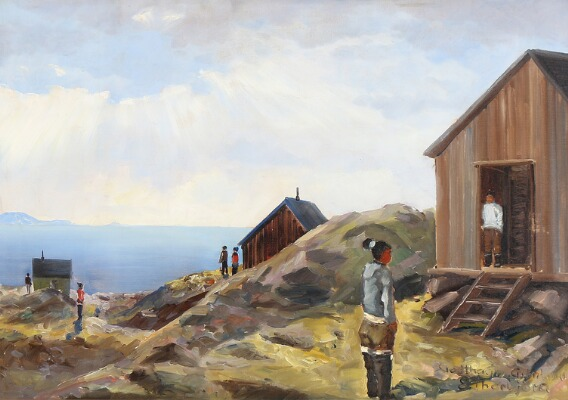inuit village, painting at auction, Evelyn Bøje Thorbjørn- Inuits on the coast on a summer day, Greenland, bruun rasmussen, peinture polaire