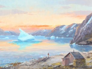 painting of greenland, sunrise, inuit, Evelyn Bøje Thorbjørn- An inuit watching the sunrise over a Greenlandic fiord, arctic05, bruun rasmussen auction