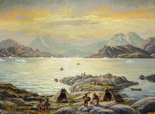 Auction painting, Emanuel A. Petersen, Summer day at a Greenlandic fiord with women preparing food over open fire, Bruun Rasmussen, Arctic05