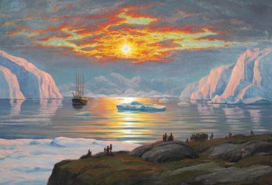 Painting, Emanuel A. Petersen, View of a Greenlandic fiord lit up by the midsummer sun, Auction, Art, Arctic05, Brunn Rasmussen, Jakobshavn 1936