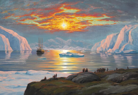 Painting, Emanuel A. Petersen, View of a Greenlandic fiord lit up by the midsummer sun, Auction, Art, Arctic05, Brunn Rasmussen, Jakobshavn 1936